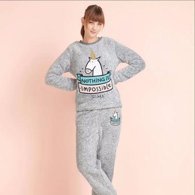Warm Unicorn Fleece Sleepwear Set