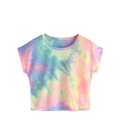 Rainbow Color Hooded Crop Top