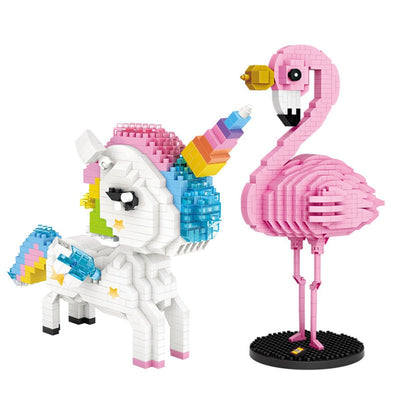 Unicorn & Flamingo Rainbow Brick Toy
