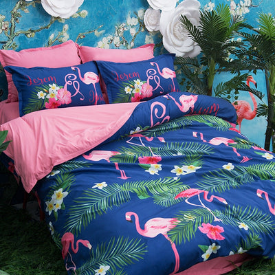 Floral Unicorn/Flamingo Bedding Set
