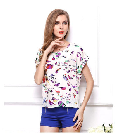 Colorful Birds Women Blouse - Well Pick Review