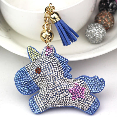 Glitter Pompom Unicorn Key Chain