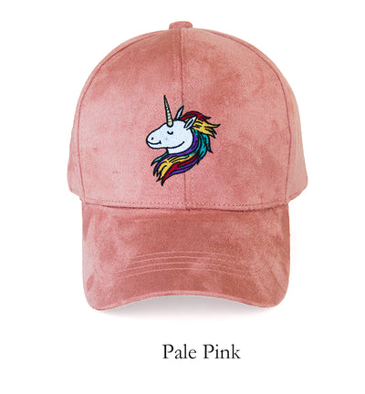 Unicorn Embroidery Suede Cap