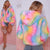 Rainbow Shaggy Faux Fur Coat