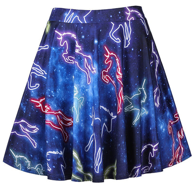 Starry Unicorn High Waist Skirt