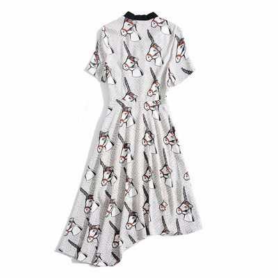 Elegant Unicorn Print Chiffon Dress