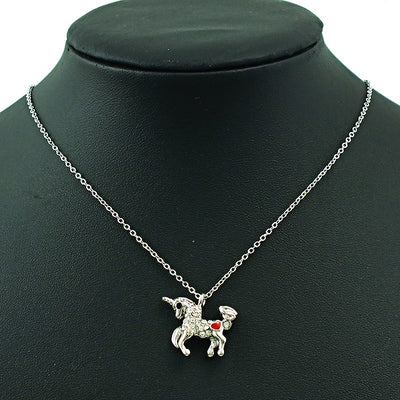 Unicorn Crystal Rhinestone Pendant Necklace