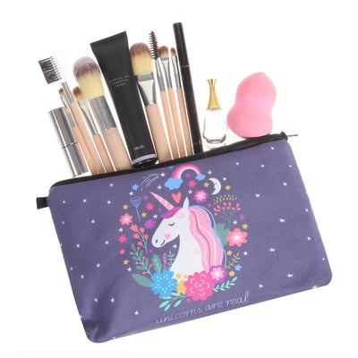 Unicorn Grey Purple Cosmetic Bag