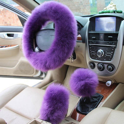 Pink Fur Steering Wheel Cover Set