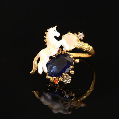 Lustrous Unicorn Midnight Crystal Earrings/Ring/ Necklace