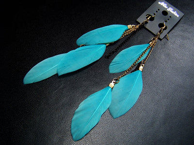 Fluorescent Feather Earrings