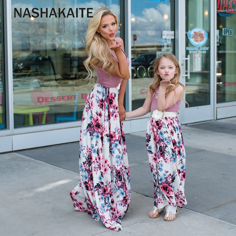 Rachel Charm Matching Family Clothes Mother Daughter Women Dress Girl Sleeveless Outfits