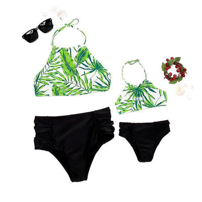Tropical Green Leaf Family Swimsuit