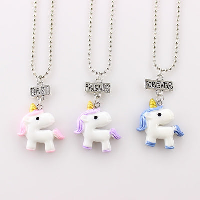 3Pcs/Set BFF Unicorn Necklaces