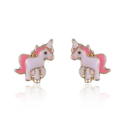 Pink Unicorn Necklace Earrings Set