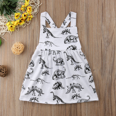 Skeleton Dinosaur Sleeveless Kid Dress