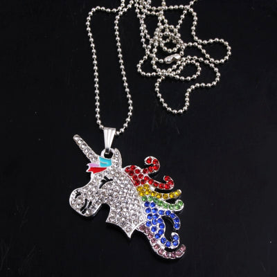 Free - Unicorn Chunky Rhinestone Necklace