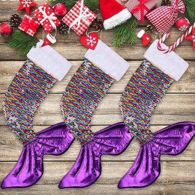 Reversible Sequins Mermaid Tail Christmas Stocking