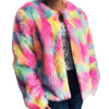 Luxury Rainbow Faux Fur Coat