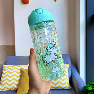 Unicorn Double Wall Water Bottle With Straw