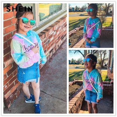 Happy Tie-Dye Kid Crop Hoodie