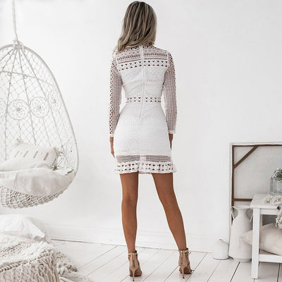 White Hollow Lace Dress