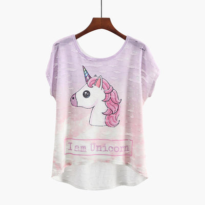Unicorn Asymmetric Casual Tops