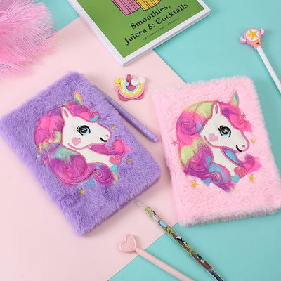 Beautiful Unicorn Furry Notebook