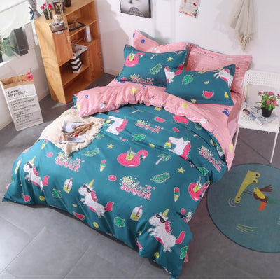 Summer Unicorn & Flamingo Bedding Set