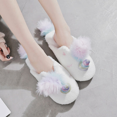 Plush Unicorn Home Slippers