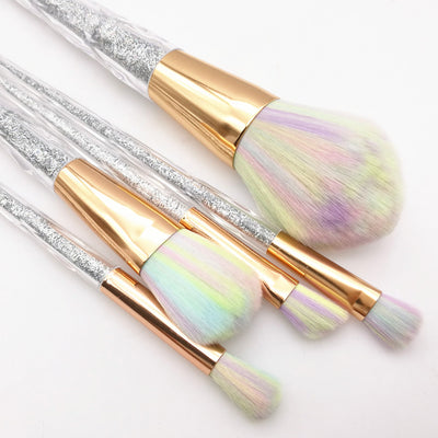 Unicorn Rainbow Hair Glitter Makeup Brush Set