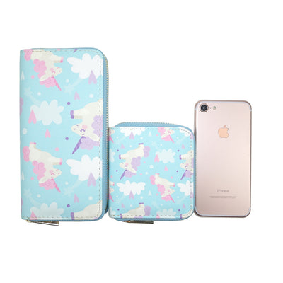 Light Blue Cartoon Unicorn Clutch Wallet