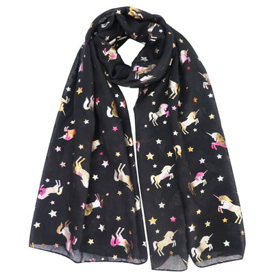 Colorful Print Glitters Unicorn Scarf - Well Pick