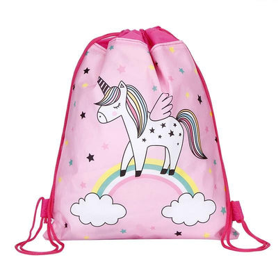 Pink Unicorn Drawstring Bag