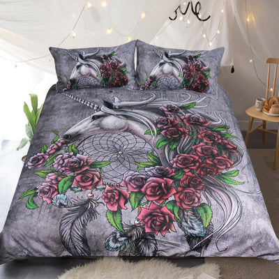 Unicorn Rose Gray Bedding Set