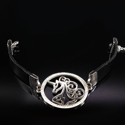 Unicorn Leather Stainless Steel Bracelet