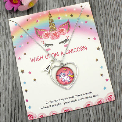 Unicorn Heart Letter Necklace