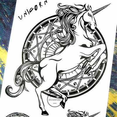 Black Unicorn Tattoo Sticker - Well Pick Review