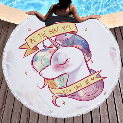 Unicorn Round Beach Towel