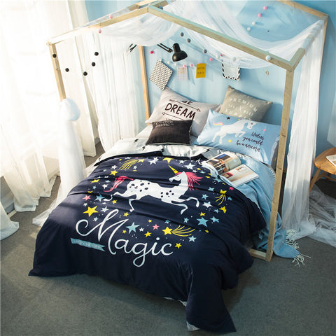 Unicorn Stars Dark Blue Bedding Sets