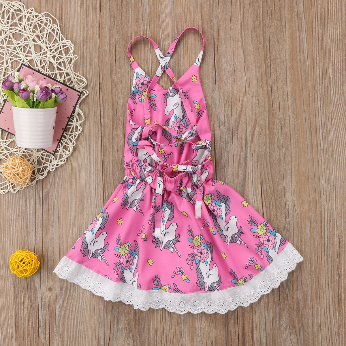 US 1-6T Kids Baby Girls Unicorn Cartoon Backless Party Pageant Dress Clothes