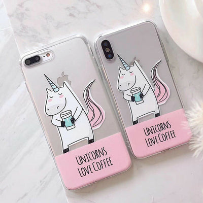 Unicorns Love Coffee Clear iPhone Case