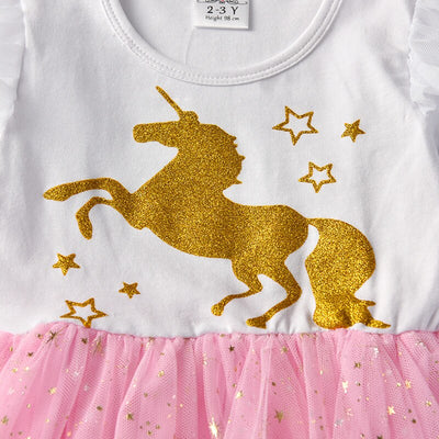 Gold Unicorn Long Sleeve Tutu Dress