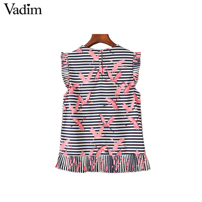 Flamingo Striped Sleeveless Blouse