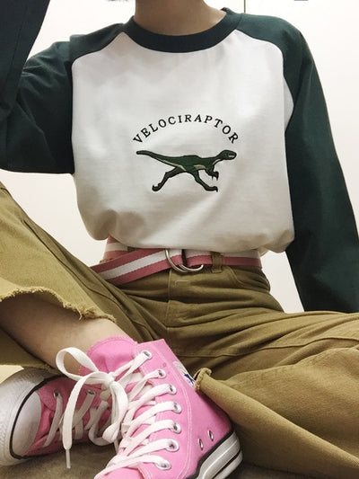 Velociraptor Dinosaur Embroidered Sweatshirt