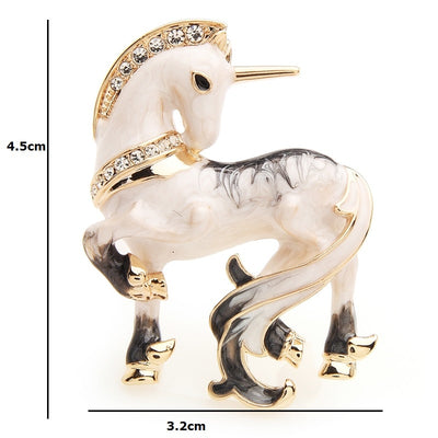 White Unicorn Enamel Brooch