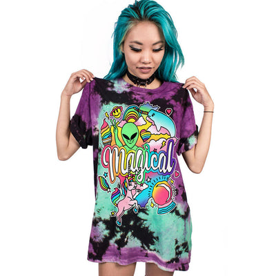 Magical Unicorn Narwhal Alien Print T-Shirt