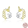 Gold/Silver Color Unicorn Earrings
