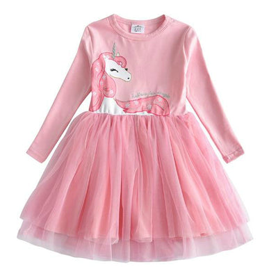 Girls Unicorn Flamingo Long Sleeves Dress