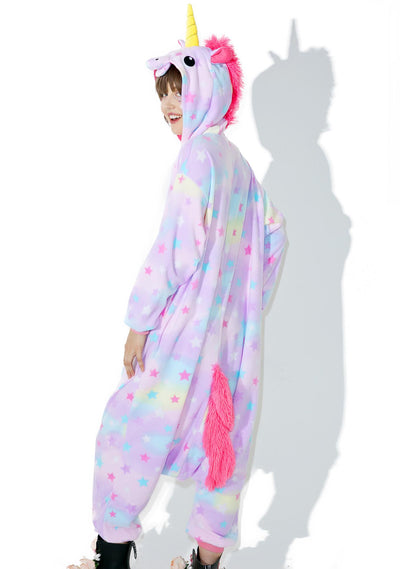 Magical Starry Purple & Rainbow Color Unicorn Onesie